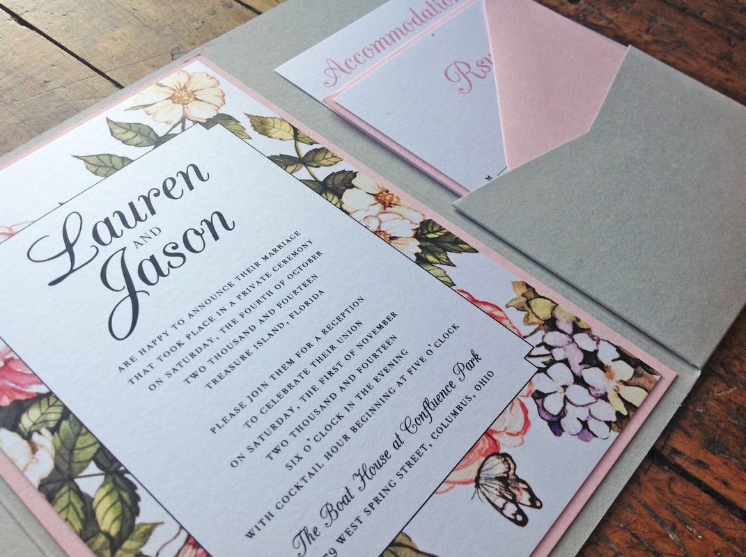 Lauren + Jason. Ohio Wedding Reception. Invitation Close-up. Dearly Noted.  www.dearly-noted.com