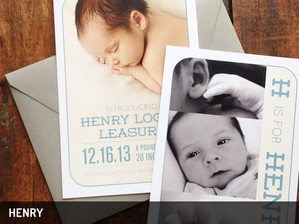 Henry Baby Announcement. Dearly Noted.  www.dearly-noted.com