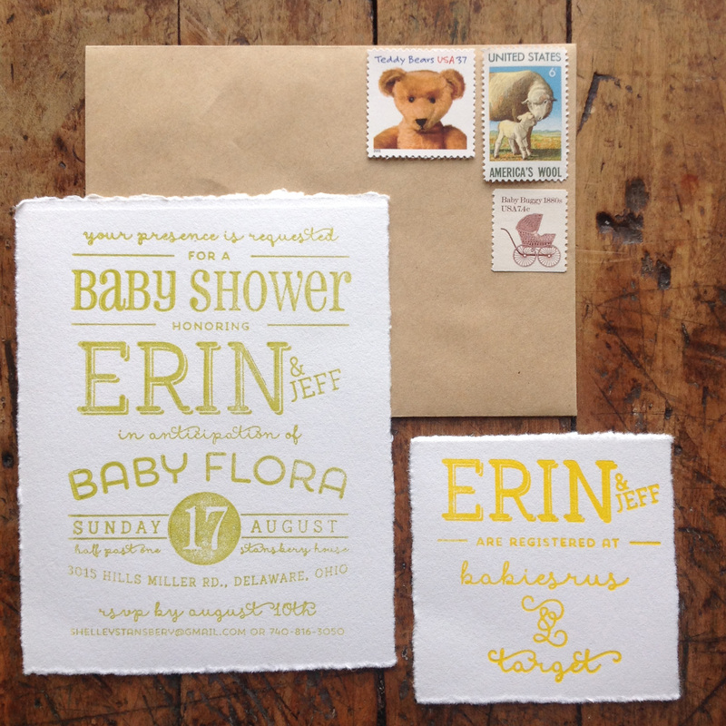 Baby Shower Invitation. Letterpress. Vintage Postage. Dearly Noted.  www.dearly-noted.com