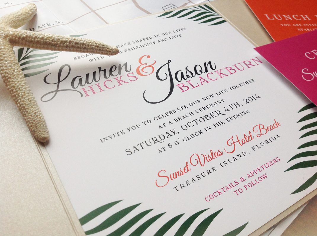 Lauren + Jason. Florida Destination Wedding. Invitation Close-up. Dearly Noted.  www.dearly-noted.com