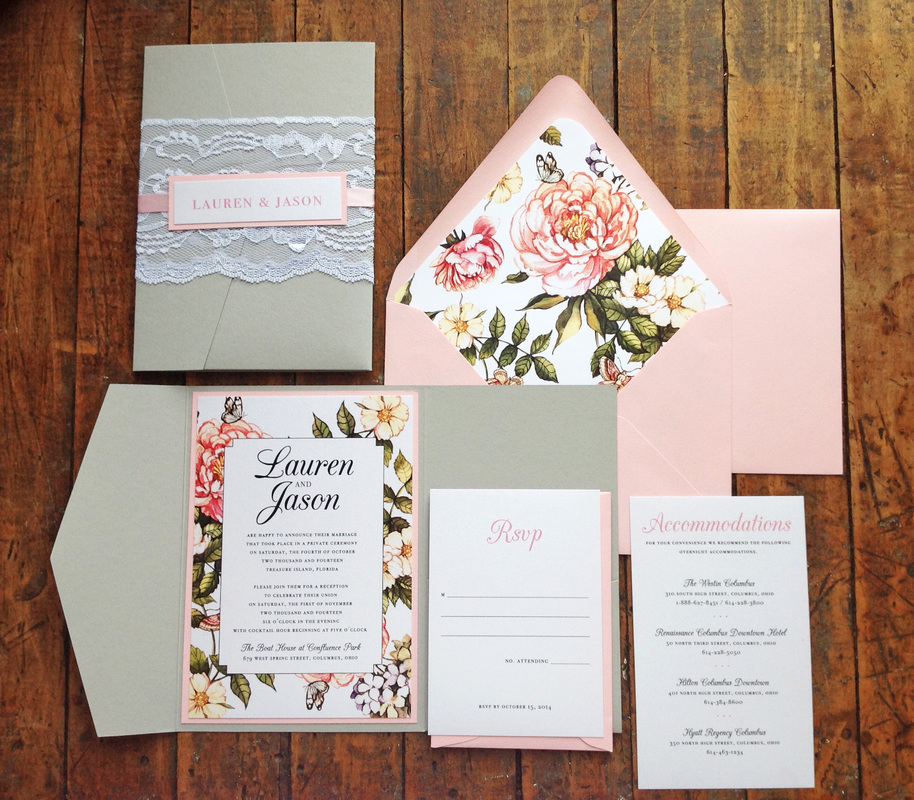 Lauren + Jason. Ohio Wedding Reception. Pink and Grey. Invitation Suite. Dearly Noted.  www.dearly-noted.com