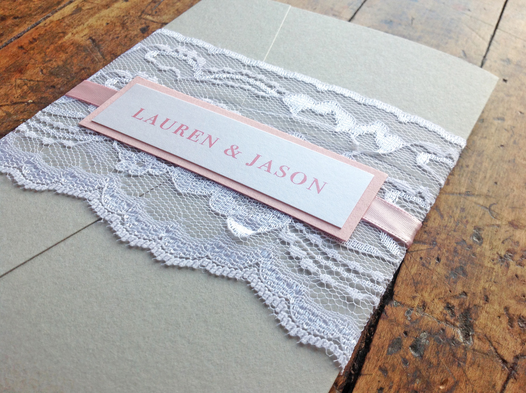 Lauren + Jason. Ohio Wedding Reception. Lace Detail Close-up Invitation. Dearly Noted.  www.dearly-noted.com
